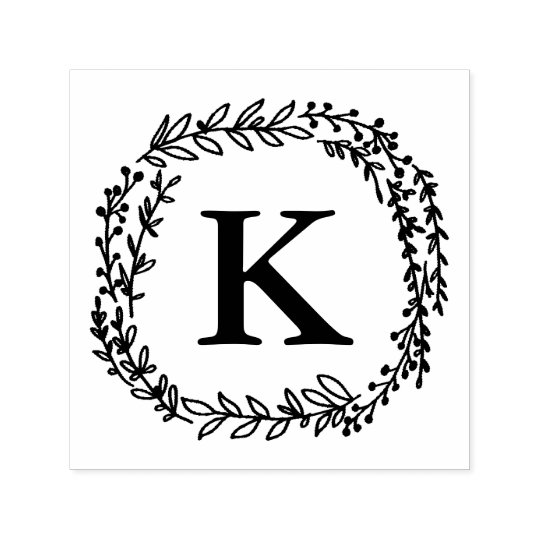 Laurel Wreath Monogram Stamp Zazzle Com