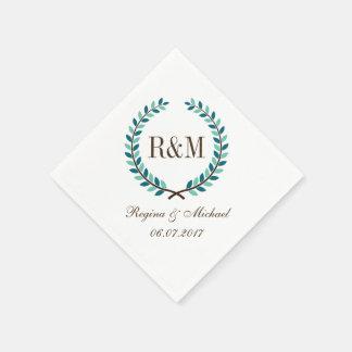 Laurel Wreath Monogram Wedding Napkin Blue White