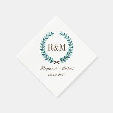 Toddler & Baby themed Laurel Wreath Monogram Wedding Napkin Blue White