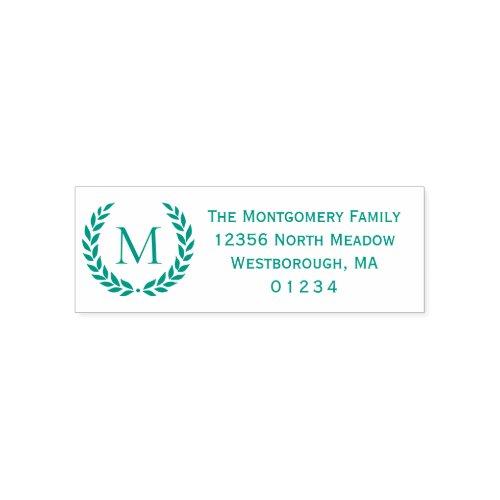 Laurel Wreath Monogrammed Initial Return Address Self_inking Stamp