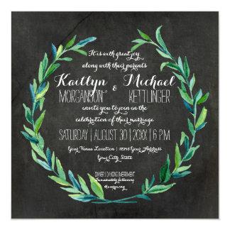 Laurel Wreath Olive Leaf Branch Chalkboard Square Card