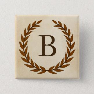 Laurel Wreath on Parchment Monogram Initial B Pinback Button