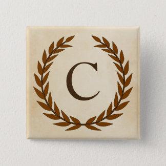 Laurel Wreath on Parchment Monogram Initial C Pinback Button