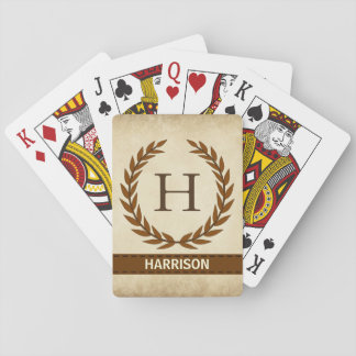 Laurel Wreath on Parchment Monogram Initial H Playing Cards
