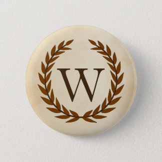 Laurel Wreath on Parchment Monogram Initial W Pinback Button