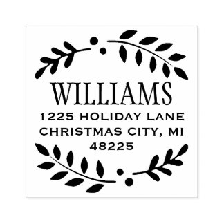 Laurel Wreath   Return Address Rubber Stamp