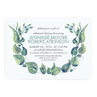 Laurel Wreath Watercolor Rehearsal Dinner Card