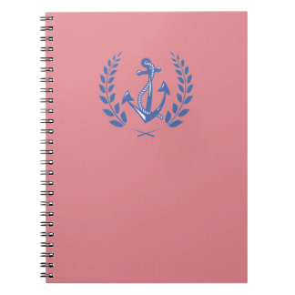 Laurel Wreath with blue anchor and rope Spiral Notebook