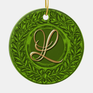 Laurel Wreath with Gold Monogram in Lime Green Double-Sided Ceramic Round Christmas Ornament