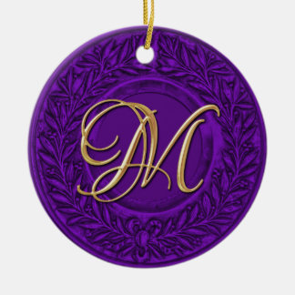 Laurel Wreath with Gold Monogram in Purple Double-Sided Ceramic Round Christmas Ornament