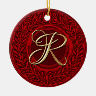 Laurel Wreath with Gold Monogram in Red Double-Sided Ceramic Round Christmas Ornament