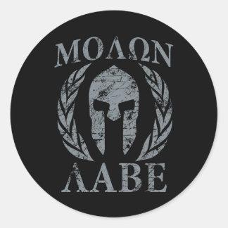Laureles de la máscara del guerrero de Molon Labe Pegatina Redonda