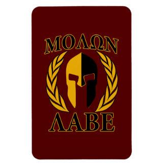 Laureles espartanos Borgoña de la máscara de Molon Rectangle Magnet