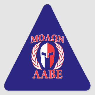 Laureles espartanos del casco de Molon Labe Pegatina Triangular