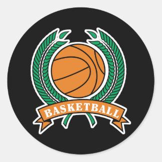 laurels basketball design classic round sticker