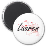 Lauren Artistic Name Design with Hearts 2 Inch Round Magnet