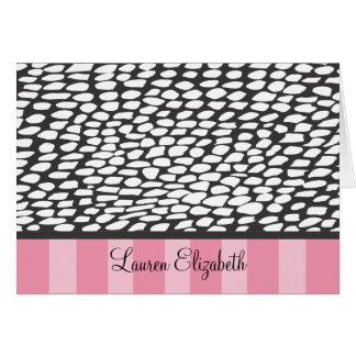Lauren - black spots and pink stripe card