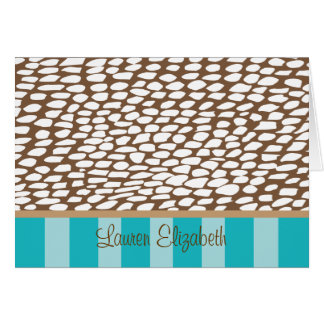 Lauren - Brown Spots and Turquoise Stripes Cards