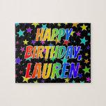 "[ Thumbnail: ""Lauren"" First Name, Fun ""Happy Birthday"" Jigsaw Puzzle ]"
