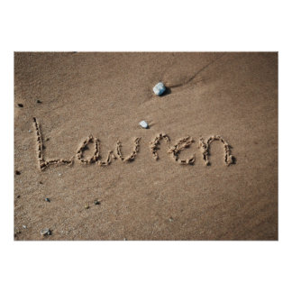 Lauren Name in Beach Sand Writing Poster