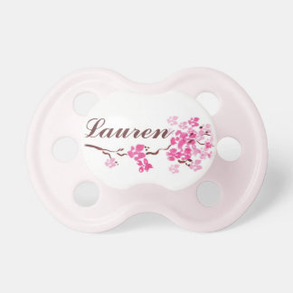 """""""Lauren"""" Personalized Name Cherry Blossom Pacifier"""