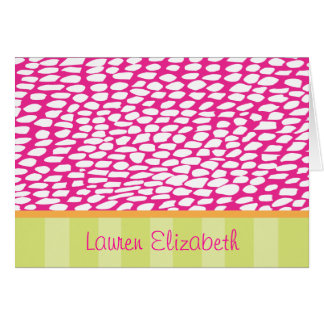 Lauren - Pink Spots and Lime Stripes Greeting Card