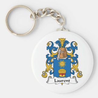 Laurent Family Crest Basic Round Button Keychain