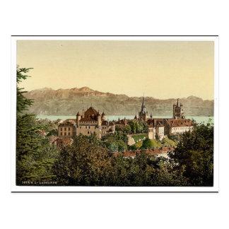 Lausanne, general view, with Savoy Alps, Geneva La Postcard