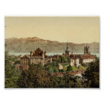 Lausanne, general view, with Savoy Alps, Geneva La Print