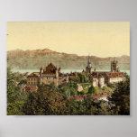 Lausanne, general view, with Savoy Alps, Geneva La Print