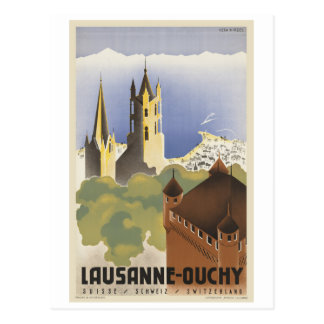 Lausanne Ouchy Switzerland Vintage Europe Postcard