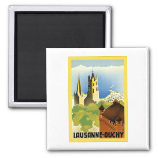 Lausanne ~ Ouchy ~ Vintage Swiss Travel 2 Inch Square Magnet