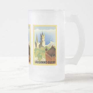 Lausanne ~ Ouchy ~ Vintage Swiss Travel Frosted Glass Beer Mug