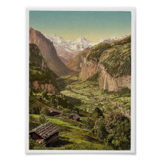 Lauterbrunnen Valley and Briethorn, from Wengen, B Poster