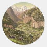 Lauterbrunnen Valley and Briethorn, from Wengen, B Round Stickers
