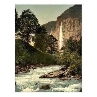Lauterbrunnen Valley, Staubbach and White Lutschin Post Card
