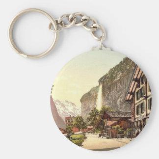 Lauterbrunnen Valley, street view with Staubbach W Basic Round Button Keychain