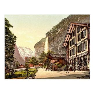 Lauterbrunnen Valley, street view with Staubbach W Postcards