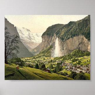 Lauterbrunnen Valley with Staubbach, Bernese Oberl Poster