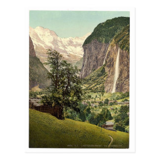 Lauterbrunnen Valley with Staubbach Waterfall, Ber Post Card