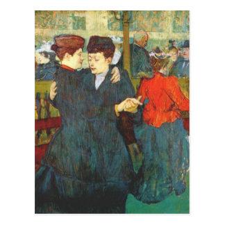 Lautrec en el colorete dos mujeres que bailan el postales