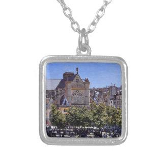 l'Auxerrois de Germán del santo de Claude Monet Colgante Cuadrado