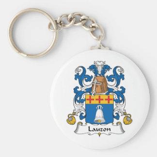 Lauzon Family Crest Basic Round Button Keychain