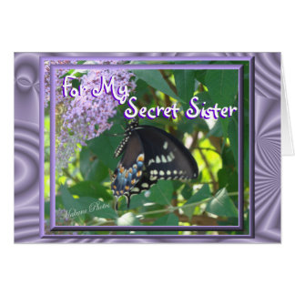 Lav-Butterfly Secret Sister- or any ocassion Greeting Card