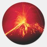 Lava caliente del volcán Costa Rica 1991 Pegatina Redonda