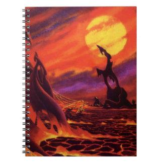 Lava del rojo del planeta w del volcán de la libreta espiral