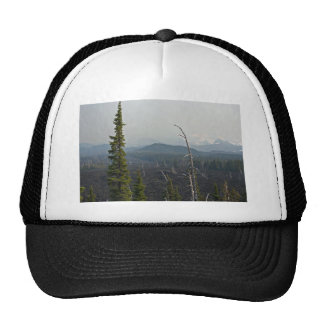 Lava Fields and panoramic  at McKenzie Pass Oregon Hat
