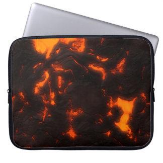 Lava Flow Bright Orange & Black Volcanic Computer Sleeve