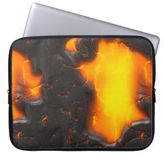 Lava Flow Bright Yellow & Black Orange Volcanic Laptop Sleeve