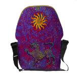 Lava Flow Geometric Leopard & Dragon Sun Seal Art Messenger Bags